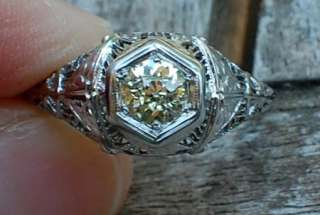 14k white gold oec old european cut diamond antique filigree ring