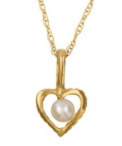 14k Yellow Gold Heart with Pearl Necklace