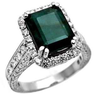 4.93ct Green Emerald & Diamond Cocktail Ring 18k White