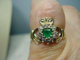 Gold Diamond Emerald and Clear Stone Claddaugh Ring Stamped 375