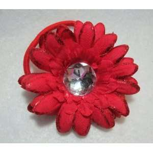 NEW Red Glitter Daisy Flower Pony Tail Holder, Limited