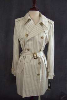 Large Ivory belted Trench Coat Ralph Lauren Women lined pinstripe