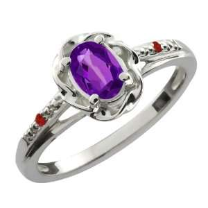 0.47 Ct Oval Purple Amethyst Red Garnet Sterling Silver