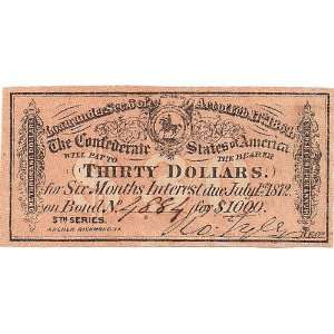 1864 1000 Dollar Confederate Bond Coupon Everything Else