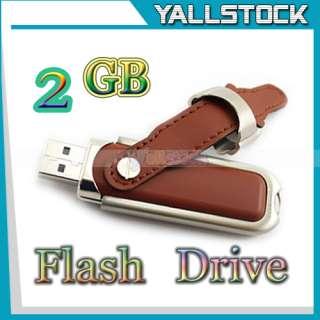 Leather 8GB USB 2.0 Flash Memory Pen Drive U Disk Brown