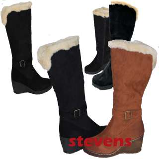 NIB WOMEN WINTER SNOW FASHION BLACK BROWN BOOTS FUR WEDGES KNEE HIGH