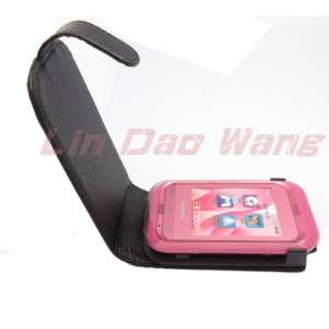Black Leather Case Pouch + Film For SAMSUNG C3300 CHAMP
