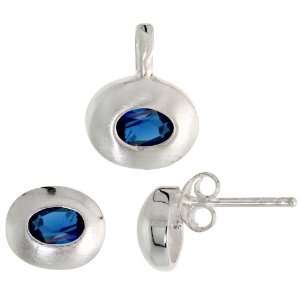 Pendant (13mm tall) Set, w/ Oval Cut Blue Sapphire colored CZ Stones