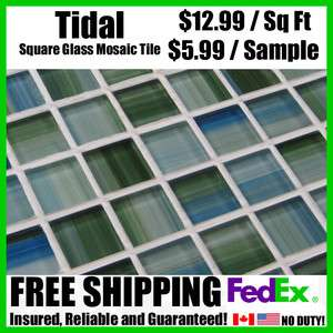 Blue/Green/White Square Glass Mosaic Tile Kitchen/Bathroom Tub