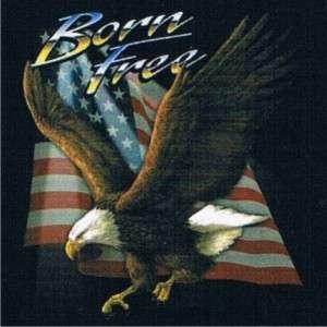BORN FREE Biker Rally Surgis Cool US Flag Eagle T Shirt