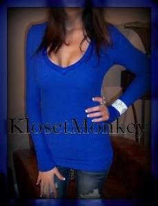 SEXY BLUE V NECK WAFFLE THERMAL LOW CUT WIDE CUFF L/S SOFT TEE SHIRT
