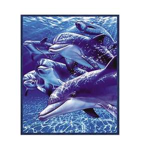 Super Plush Queen Size Fleece Blanket 79x95 6 Dolphin Ocean Water