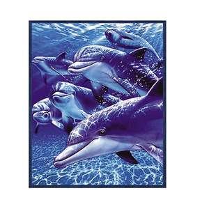 Super Plush Queen Size Fleece Blanket 79x95 6 Dolphin Ocean Water
