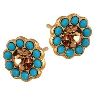 Michal Negrin Stylish Flower Gold Plated Stud Earrings