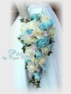 Pool Silk Wedding Flowers, Blue Silk Bridal Flowers