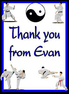 Martial Arts Birthday Party Thank You Note Cards Personalized
