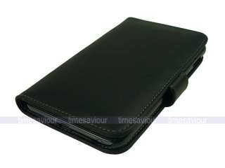 Black Leather Case Cover for Samsung Galaxy Note with Inner Card Slot