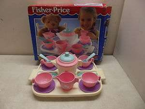 VINTAGE FISHER PRICE FUN WITH FOOD TEA PARTY SET WITH TRAY & BOX 100%