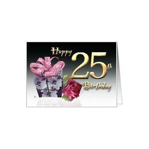 Gift box red rose birthday card Happy 25th Birthday pink