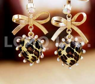 New Brand Fashion Hot Cute Gold Bow Knot Leopard Heart Dangle Earrings