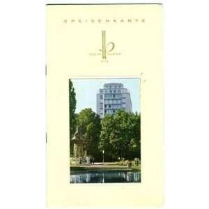 Hotel Am Parkring Menu Vienna Austria Speisenkarte