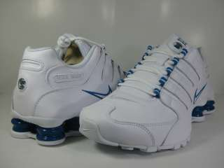 NIKE SHOX NZ LEATHER WHITE/BLUE  378341 134  MENS RUNNING ATHLETIC