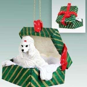White Poodle Christmas Ornament Hanging Gift Box
