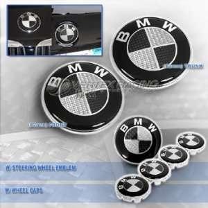 BMW Carbon Fiber Hood Trunk Roundel Steering Wheel Emblem Wheel