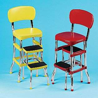 Cosco Retro Kitchen Stool Red With Folding Step New