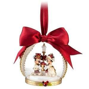 Victorian Mickey & Minnie Glass Dome Globe Christmas Ornament NEW