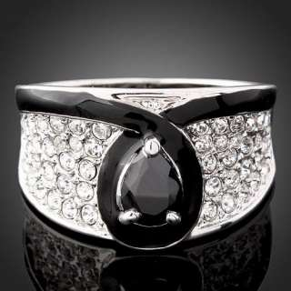 Swarovski Crystal Black Enamel Onyx White Gold GP Ring