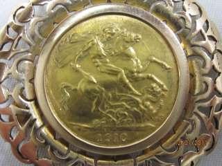 1910 Sovereign King Edward VII Gold Coin 900 FINE & 18KT GOLD BEZEL