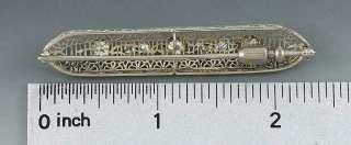 1920s VINTAGE 14K WHITE GOLD & DIAMOND FILIGREE BAR PIN