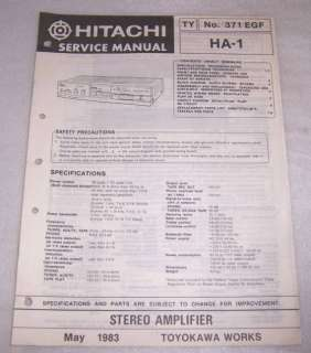 ORIGINAL HITACHI HA 1 STEREO AMPLIFIER SERVICE MANUAL