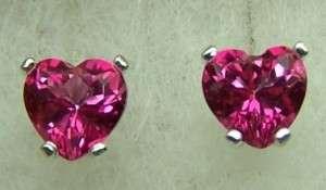 HEART cut Mystic HOT PINK Topaz stud earrings 2ctw ss