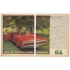 1964 Red Chevy Impala Convertible 2 Page Print Ad (13517