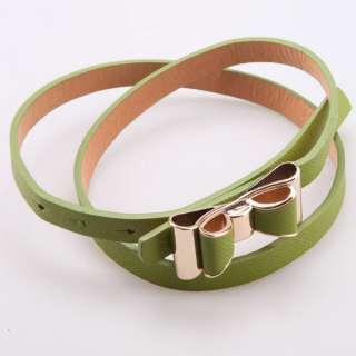 Fashion Lady Candy Color Double Bowkont PU Leather Thin Belt Fine Blet
