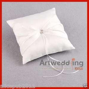 HI Q Ivory Pleated Satin Wedding Ring Pillow with Rhinestone