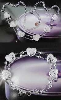 925 Silver Plated Necklace&Bracelet Jewelry Set 27