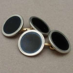 Krementz Cuff Links Vintage Black Silver & Gold Plate