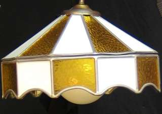 VINTAGE 60S STAINED GLASS MOD HANGING LAMP AMBER & WH