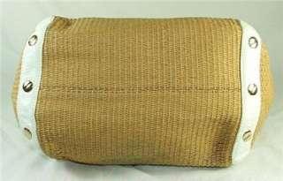 Michael Kors Panama Large Shoulder Tote Straw Bag Purse Natural White