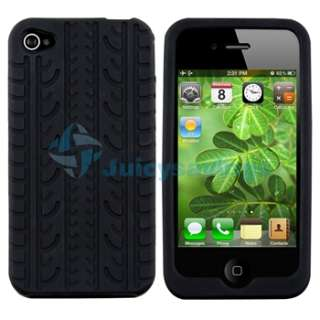 Black Tire Tread Silicone Rubber Case Cover+PRIVACY Protector for