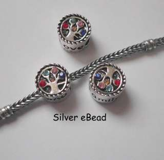 silver family tree love multicolor red green pink blue cz spacer charm