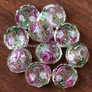 7x10mm White Lampwork Glass Abacus Faceted Beads 10Pc