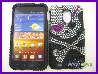 Samsung Galaxy S2 Epic 4G Touch   Pirate Skull Bling Hard Case Cover