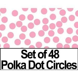 Set of 48   2 Pink Circles Polka Dots Vinyl Wall Graphic
