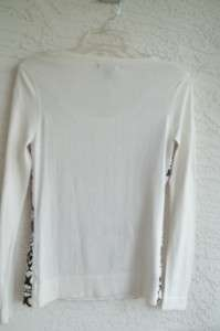 NWT EQUATION MISSES SCOOP NECK LONG SLEEVE BLACK IVORY PRINT SWEATER $