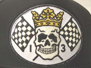 Lucky 13 Skull King Checkered Flags Black Cap