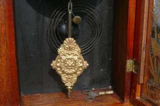 Victorian Oak Parlor Shelf Mantle Clock Original Painted Glass